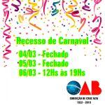 Horários Especiais do Feriadão de Carnaval